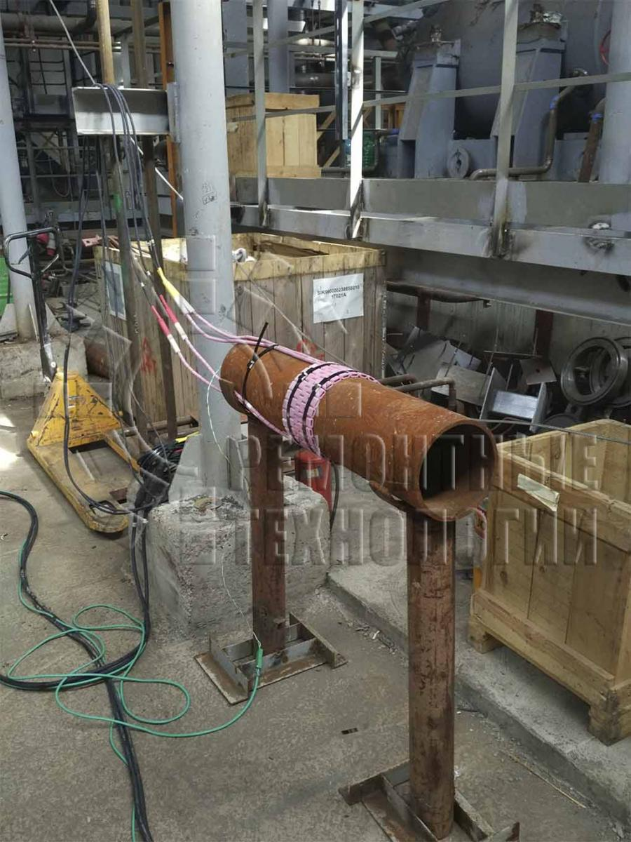 Preparation of welded joint for heat treatment.