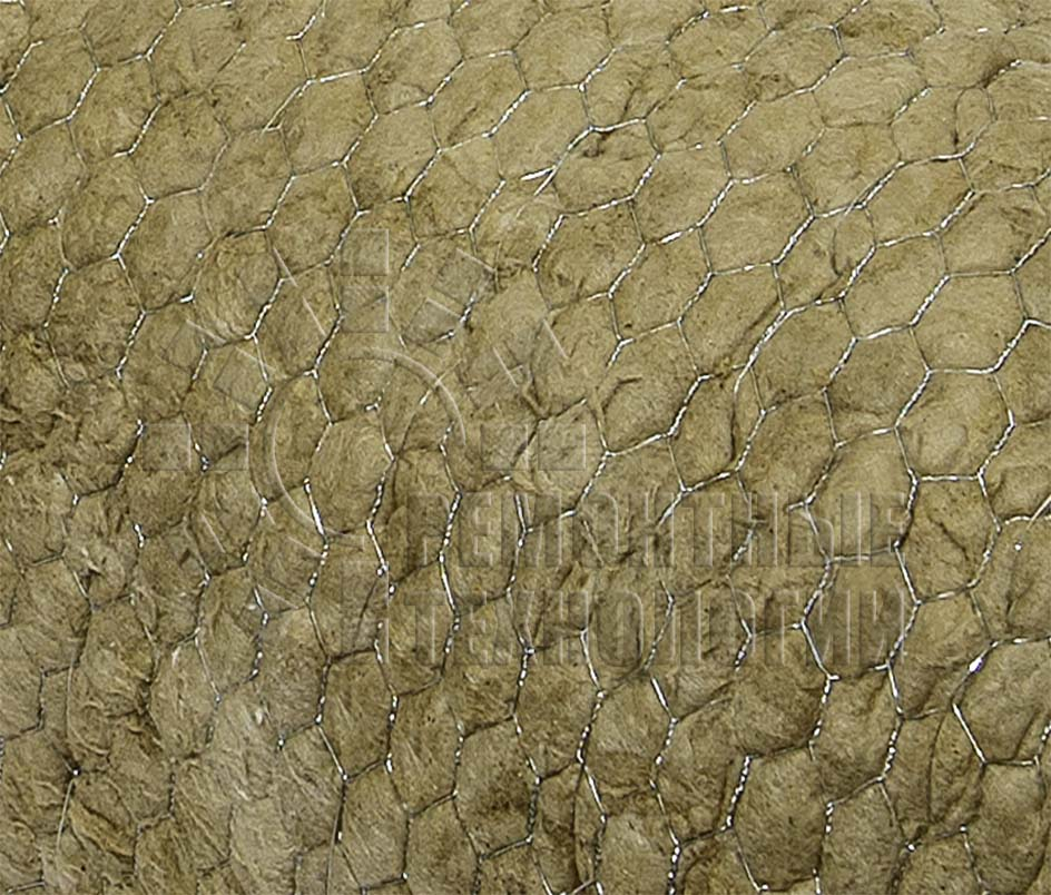 Mineral wool insulation in mesh