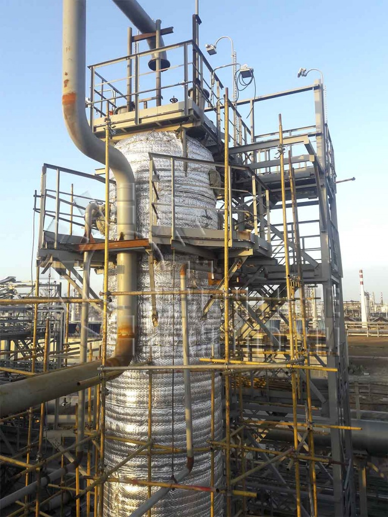 Out-of-furnace volumetric heat treatment of column